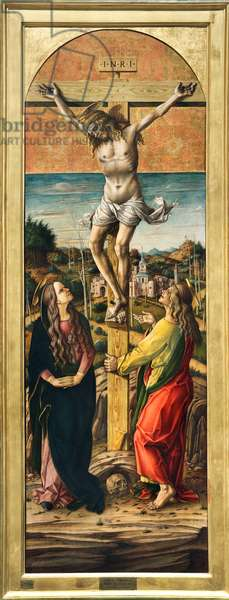 Crucifixion with the Virgin Mary and St. John the Evangelist, 1488-90 (oil & tempera on panel)