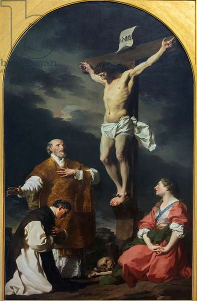 Christ crucified with St. Eusebius, St. Philip Neri and St. Mary Magdalen, 1744 (oil on canvas)