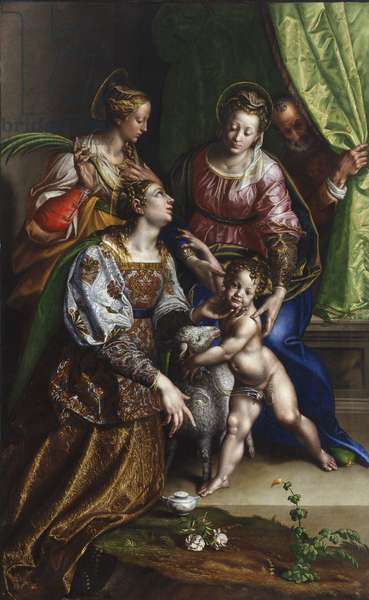 Madonna and Child with St. Joseph, St. Catherine and St. Agnes, c.1570 (oil on canvas)