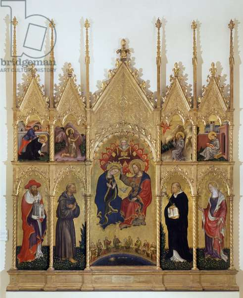 Coronation of the Virgin and Saints (Valle Romita Polyptych), c.1408 (tempera on panel)