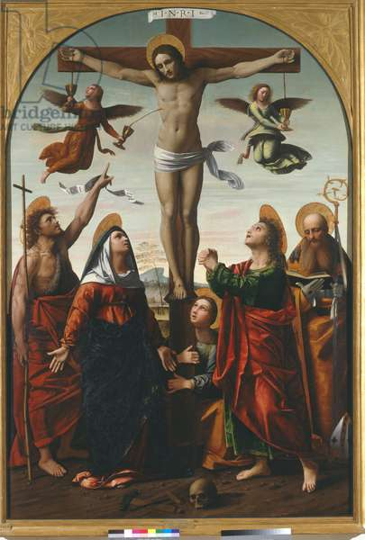 Crucifixion with the Virgin and St. John the Baptist, St. Mary Magdalen, St. John the Evangelist and St. Augustine, 1520 (oil on panel)