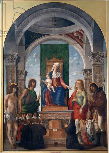 Madonna and Child Enthroned with St. Sebastian, St. John the Baptist, St. Mary Magdalene, St. Roch and Members of the Confraternity of San Giovanni Evangelista , 1487-88 (mixed media on canvas)