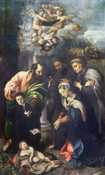 The Nativity with Saints Matthias, Anthony of Padua, Blessed Albert of Villa d'Ogna and a donor, c.1529 (oil on panel)