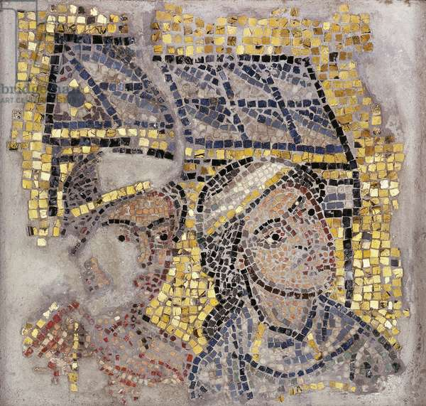 Mosaic panel with two heads and a building in the background, c.1213 (mosaic)