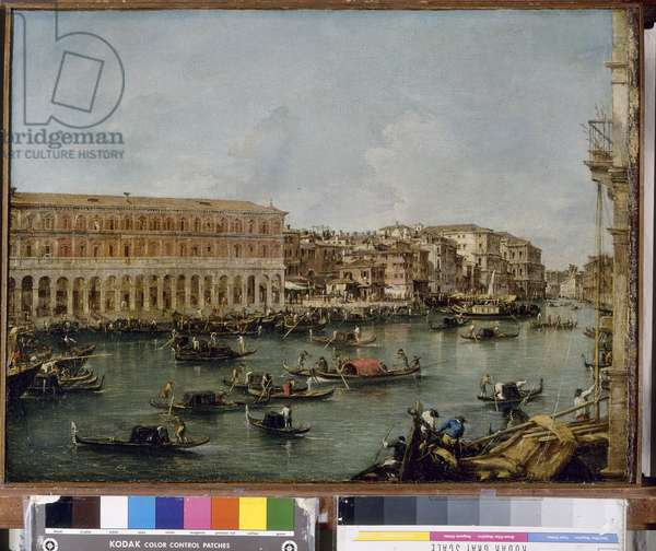 View of the Grand Canal with the Fabbriche Nuove di Rialto, 1756-60 (oil on canvas)