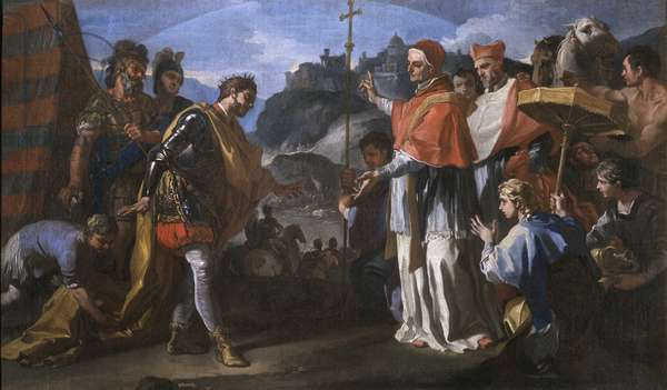 The meeting between King Ratchis of the Longobards and Pope Zacharias during the siege of Perugia, 1701-05 (oil on canvas)
