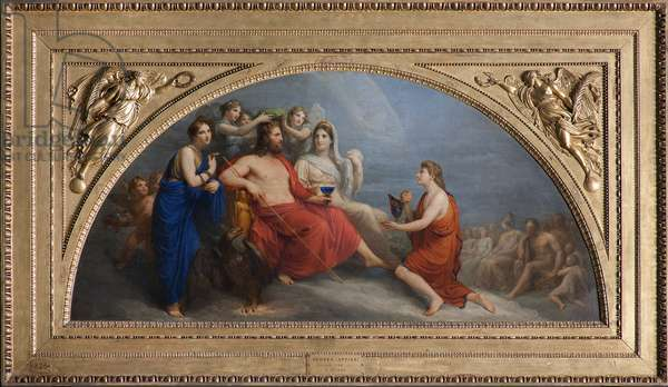 The Olympus (Jupiter, crowned with myrthe by the Hours, proffers a globet to Ganymede to be served nectar), 1806 (oil on canvas)