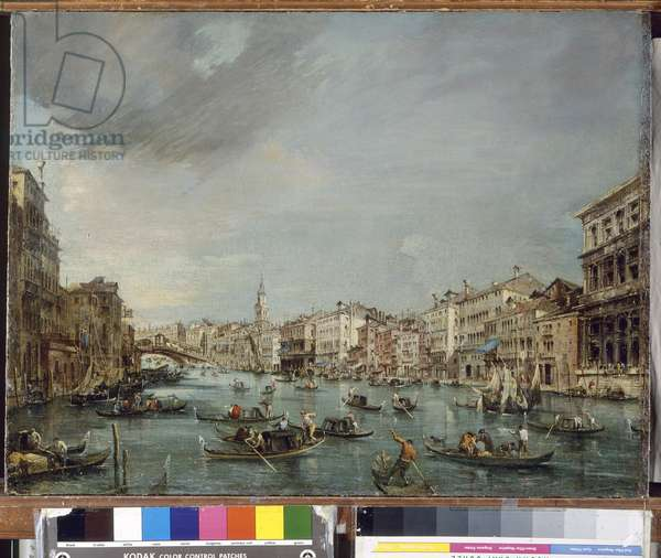 View of the Grand Canal towards Rialto with Palazzo Grimani and Palazzo Manin, 1756-60 (oil on canvas)