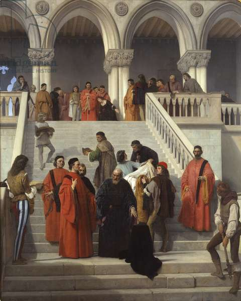 """The final moments of Doge Marin Faliero on the """"del Piombo"""" staircase, 1867 (oil on canvas)"""