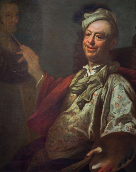 Self-portrait of the artist at his easel, c.1690 (oil on canvas)