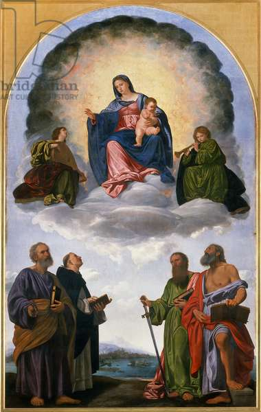 Madonna in Glory with the Christ Child, Two Angels Musicians, St. Peter, St. Dominic, St. Paul and St. Jerome (Pesaro Altarpiece), 1524-25 (oil on panel)