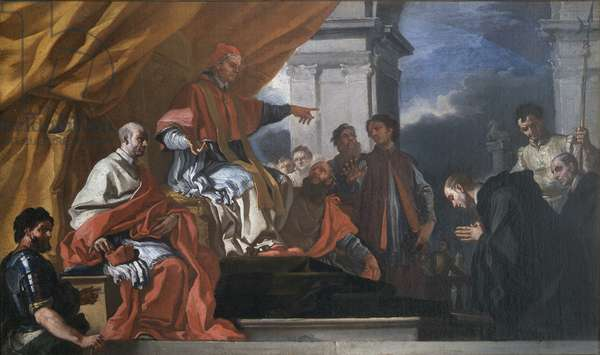 Saint Willibald seeks Pope Gregory III's blessing before going to evangelise the Saxons, 1701-05 (oil on canvas)