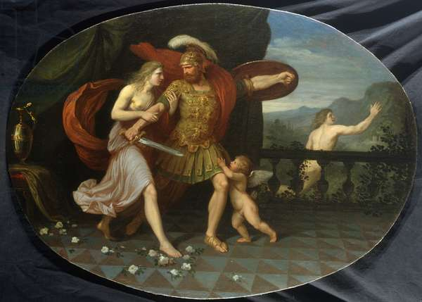 The wrath of Mars checked by Venus, 1790 (oil on canvas)