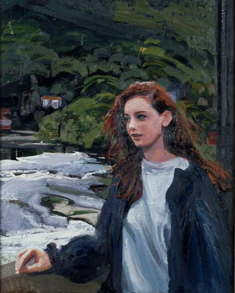 Young Woman at the Bridge at Llangollen, 1996 (oil on canvas)