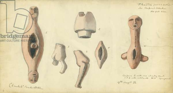 Phallic Emblems from Mr Shapira's Collection, 1872 (w/c & pencil on paper)