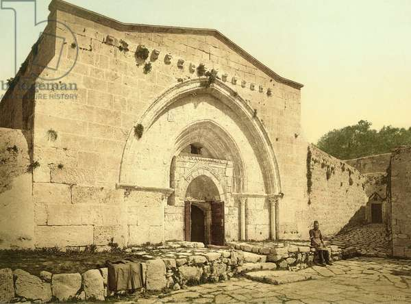 Facade of the church of the Tomb of the Virgin Mary in the Kedron Valley, Jerusalem, c.1880-1900 (photochrom)