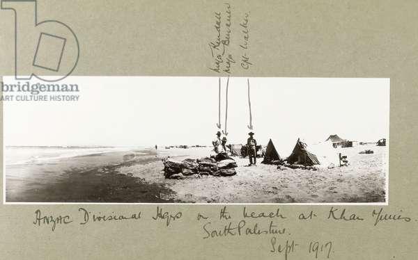 ANZAC Divisional Majors on the beach at Khan Yunis, September 1917 (b/w photo)