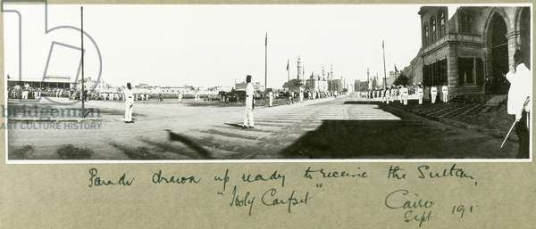 Parade drawn up ready to receive the Sultan, Cairo, September 1917 (b/w photo)