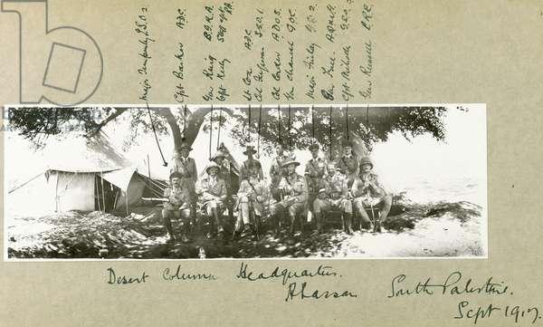 Desert column headquarters at Abassan, South Palestine, September 1917 (b/w photo)