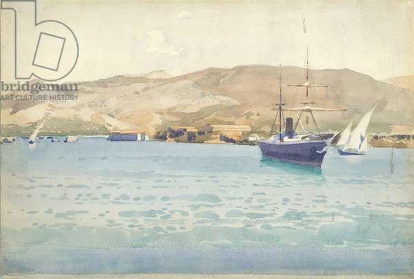 Off Beyrout, Lebanon hills in distance, 1896 (w/c on paper)