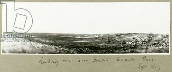 Looking over our position towards Gaza, September 1917 (b/w photo)