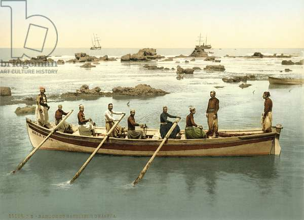 Boat with people rowing in the harbour of Jaffa, c.1880-1900 (photochrom)