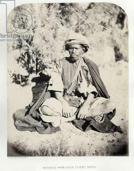 Hassan el Harbi, guide to Jebel Serbal, 1868 (b/w photo)