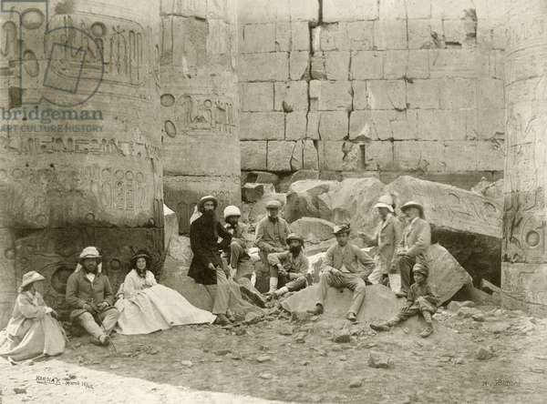 Prince of Wales's party in the Temple of Karnak, 1862 (b/w photo)