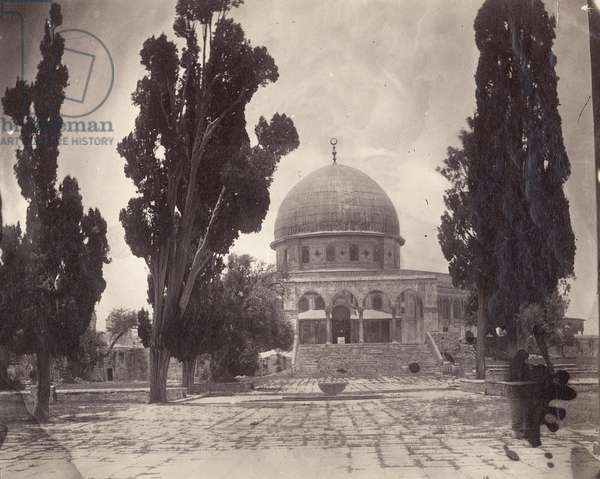 The Dome of the Rock on the Haram al Sharif in Jerusalem, from the south, 1870 (b/w photo)