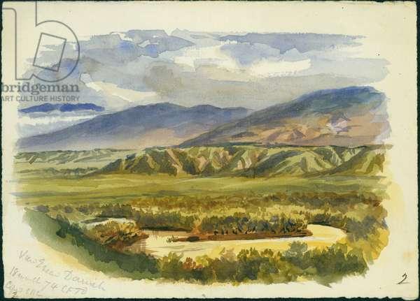 View near Damieh, Jordan Valley, 1874 (w/c & pencil on paper)