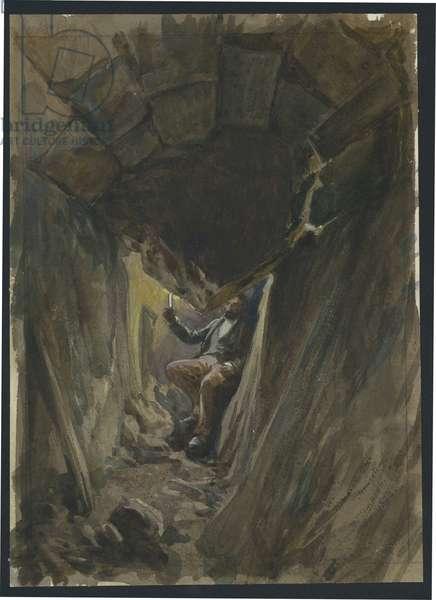Fallen Voussoir Robinson's Arch, Jerusalem (w/c & pencil on paper)