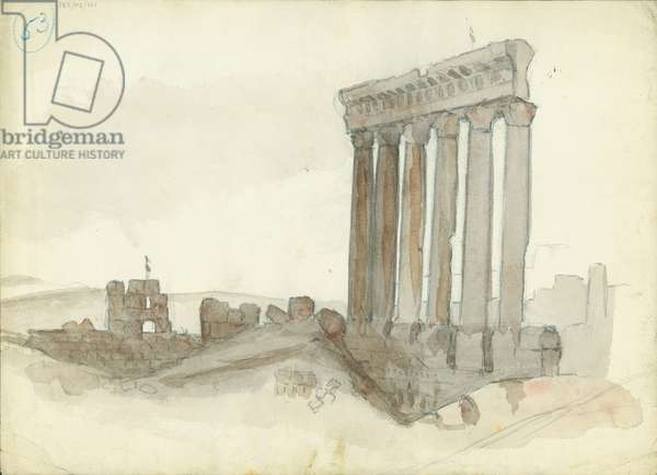 Temple of Jupiter, Baalbeck (w/c & pencil on paper)