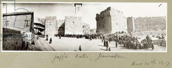 Jaffa Gates, Jerusalem, 14th December 1917 (b/w photo)