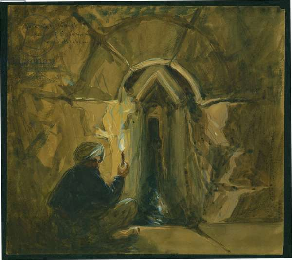 Rock-cut tunnel, Pools of Solomon, Near Bethlehem, 1872 (w/c & pencil on paper)