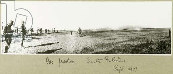 Gas practice, South Palestine, September 1917 (b/w photo)