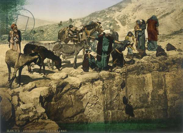 Bedouin women drawing water, c.1880-1900 (photochrom)
