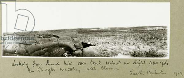General Chaytor watching from the trenches with glasses, 1917 (b/w photo)