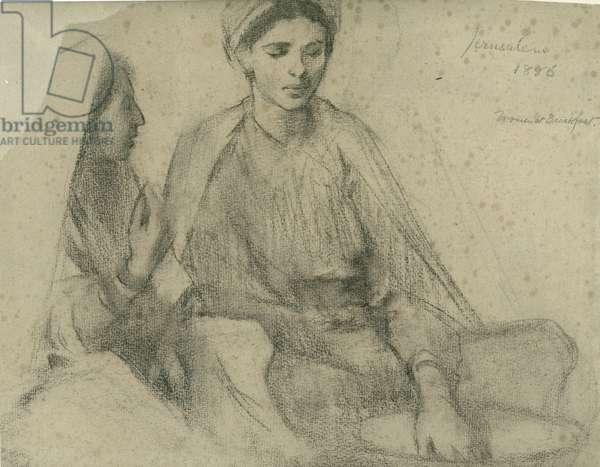 Women at Breakfast, Jerusalem, 1886 (black crayon on paper)
