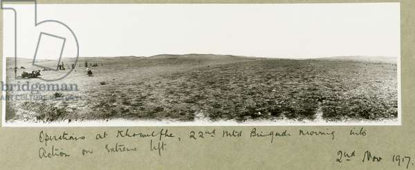 Operations at Khuwelfeh, 22nd Mounted Brigade moving into action, 2nd November 1917 (b/w photo)