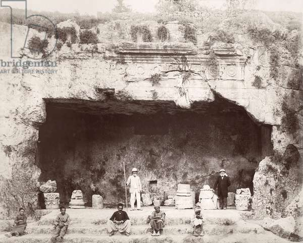 Conrad Schick (right) at the Tomb of the Kings, Jerusalem, 1897 (b/w photo)
