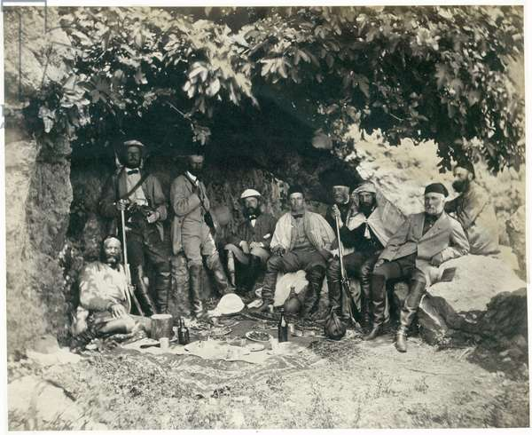 The Prince of Wales's party at Ain-et-Tin (Khan Minyeh), 1862 (b/w photo)