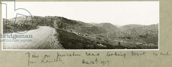 View on Jerusalem Road looking west from Ramleh, 14th December 1917 (b/w photo)