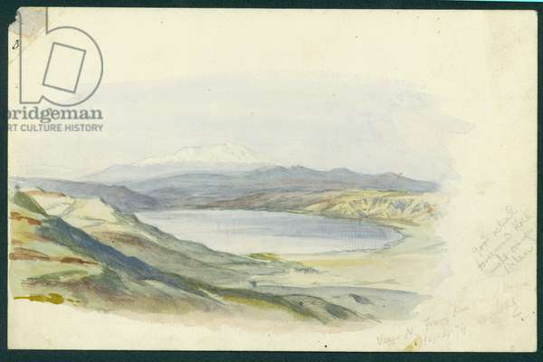 Mount Hermon and the Sea of Galilee, 1874 (w/c & pencil on paper)