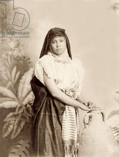 Girl with water jar, c.1867-98 (b/w photo)