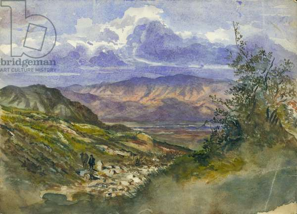 Jordan Valley looking East to Mount Gilead (w/c & pencil on paper)