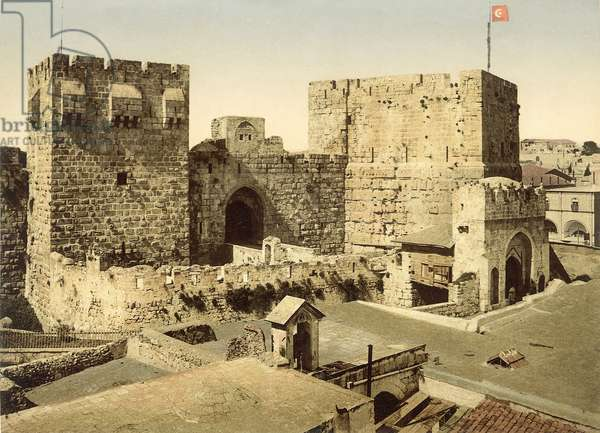 View of the entrance to the Citadel, Jerusalem, c.1880-1900 (photochrom)
