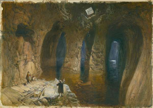 Bahr el Khabeer or the Great Sea Rock-cut cistern under the site of Solomon's Temple, 1870 (w/c & pencil on paper)