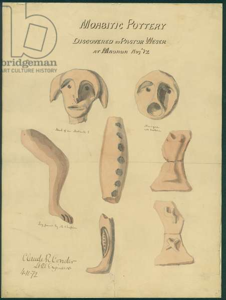 Moabitic pottery from Mr Shapira's 2nd Collection, 1872 (w/c & pencil on paper)