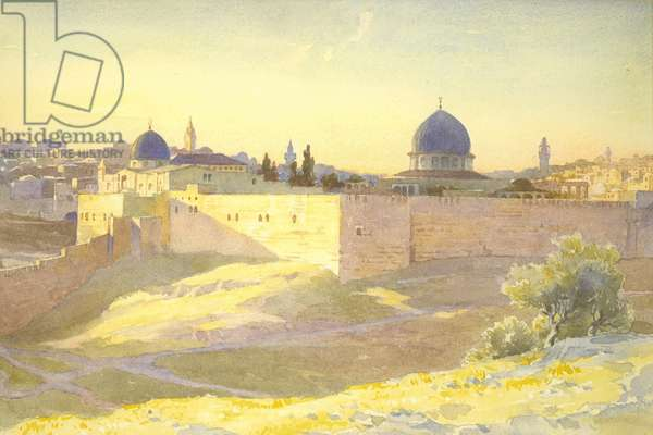 Jerusalem, seen from the Mount of Olives (w/c on paper)