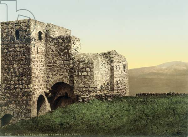 Ruins of the so-called 'Palace of Ahab' medieval tower at Jezreel, c.1880-1900 (photochrom)